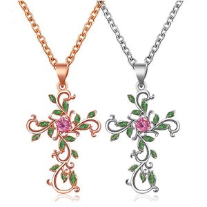 Fashion Design Flower Cross Pendant Necklace For Women Girls Gold Silver Color Copper Choker Collar Jewelry Party Gifts