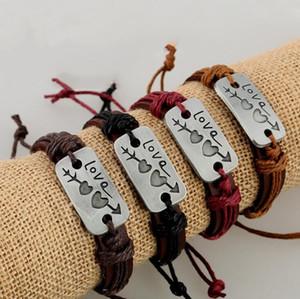 Nouveaux amants Bracelet à breloques double coeur amour Bracelet en cuir Mode pas cher Bijoux Couple pour les hommes et les femmes