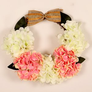 12-Inch Silk Hydrangea Front Door Hanging Wreath Artificial Hydrangea Flower Garland Wedding Party Spring Decor