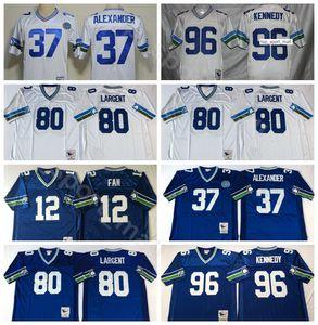 Футбол NCAA 37 Шон Александр 80 Стив Ларгент 96 Кортес Кеннеди Джерси 12 12 вентилятор Цвет Синий Белый сшитые мужская Винтаж