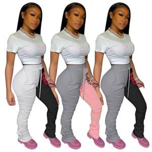 Elastik Yığılmış Sweatpants Kadın Joggers Artı Boyutu Yüksek Vücut Bodycon Dantelli Pantolon Spor Tayt Dipleri Pantolon 2020