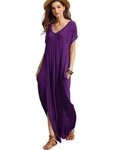 Mulheres Maxi solto vestido Boho Casual partido Holiday Beach sundress longos de Verão vestidos curtos Plus Size luva