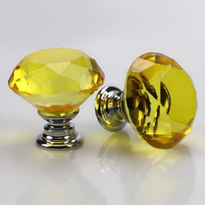 Haute Qualité 30mm Diamond Shape Design Poignées Cristal Glass Boots Pulls Pulls Boutons de tiroir Mobilier de cuisine Poignées BH0920 TQQ