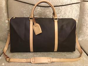 nuevos hombres bolsa de lona mujeres viajan bolsos de mano del bolso del viaje del equipaje de la PU de los hombres de bolsos de cuero de gran bandolera bolsas de 55cm