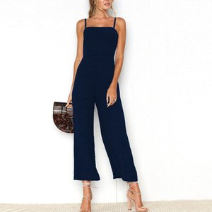 Fashion 2019 Summer Women Wide Leg Jumpsuit Spaghetti Straps Backless Jumpsuit Casual Solid Color Straight Jumpsuits