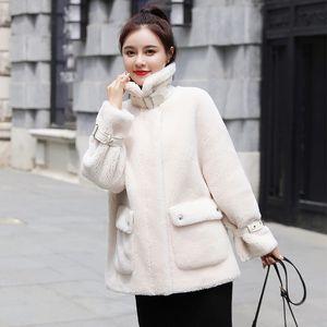 DROWYD 패션 겨울 눈 플리스 코튼 코트 여성 캐주얼 블루 화이트 방풍 두꺼운 따뜻한 짧은 코트 우아한 느슨한 탑 코트