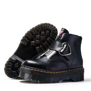 Kısa ayak bileği patik kadınlar fermuar Yüksek kaliteli moda siyah toka hakiki deri martin çizmeler büyük beden 35-41
