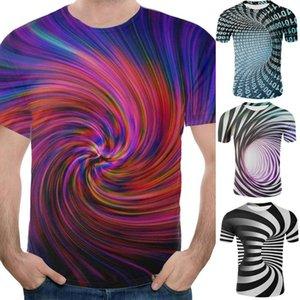 Hombres tiempos Túnel 3D Digital Print manga corta cuello redondo camiseta de la blusa de la tapa piel-amistoso cómodo