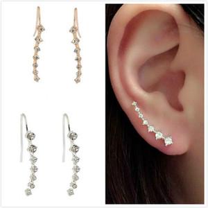 Earrings For Women Gift New Fashion Rhinestone Gold Silver Crystal Earrings Ear Hook Jewelry Stud Earrings F0069
