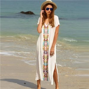 New Arrivals Beach Cover up Rayon Embroidery Swimwear Ladies Vintage Pareo Kaftan Beach Swimsuit Robe de Plage Beachwear #Q18 Y200706