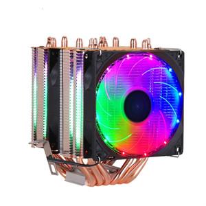 cooler de alta qualidade 6 heat-pipes dual-torre de resfriamento de apoio fã nove centímetros RGB 3 fãs 4PIN Fan CPU para Intel e da AMD
