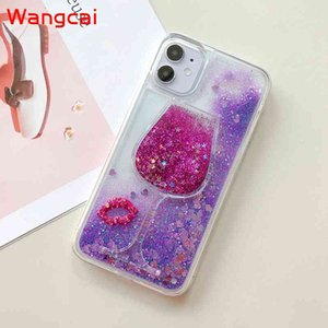 Mytoto Glittering wine glass quicksand liquid case sexy case for iphone 6 6S plus 7 7plus 8 8plus X XS XR Max silicone phone couqe