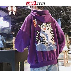 LAPPSTER Men Streetwear Casual Cat Hooded Hoodies 2020 Mens Hip Hop Harajuku Sweatshirts Male Korean Fashions Black Hoodie INS Y200704