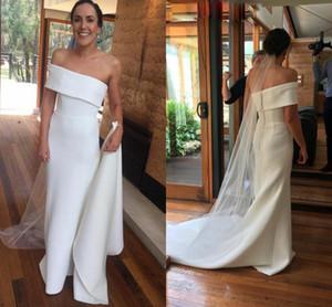 Modern African Sheath Wedding Dresses Elegant Satin Simple One Shoulder Boho Bridal Gowns Backless Court Train Vestidos De Novia