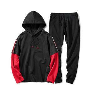 Diseñador chándales panelados 2 pantalones piezas casuales con bandas sueltas Deportes Manga Larga Sudadera hombre de la moda chándales falso Dos Hombres