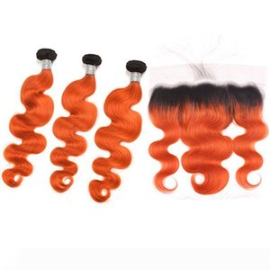 A Indian Raw Virgin Hair Cheap 1B Orange Body Bundles waves avec 13x4 Dentelle Frontal Pré plumé 1b de l'orange Ombre Hair Extensions