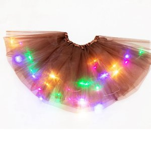 Girl Kids Skirt LED Light Up Tutu Princess Skirts Colorful Luminous Party Dance Dress performance Skirt KKA7874