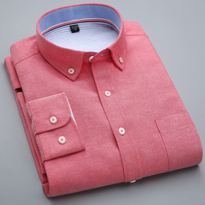 Qisha Mode-Hemd für Männer Oxford Langarm Rot Schwarz Herren Hemd Collor Männlich Büro Tops Camisa Social Masculina Y200409