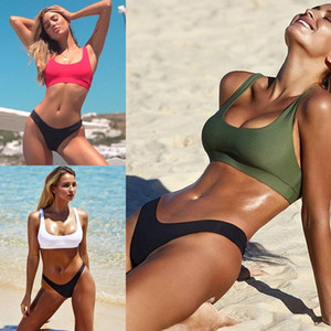 Sexy taille haute Bikinis Femmes 2019 Nouveau Maillots de bain Bikini solide sport Gilet Maillot de bain Bikini Ensembles Bain de soleil Summer Party