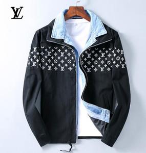 Slim Fit chaqueta Jean Hombre Mavi Denim Ceket Delik Denim Ceket Erkekler Baskı Jeans Ceket Erkekler Aşınmış Out Splice Veste En Jean