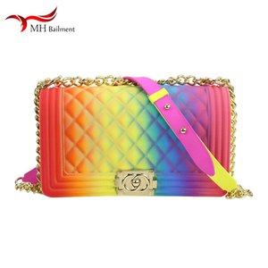 Borsa donna catena arcobaleno color gelatina spalla catena diagonale borsa PVC grande borsa estate nuova moda popolare borsa con pantofole donna