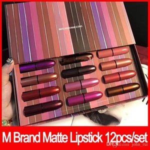 2018 Lips Makeup Brand M Lipstick Set Look in a box Matte Lipstick rouge a levre with Retail box 12pcs set