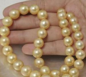 """New Fine Pearl Jewelry real natural 18 """"10 MM SUD MARE rotondo oro rosa perla COLLANA 14k"""