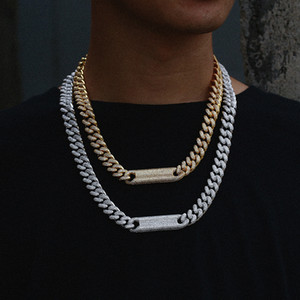 Wholesale 12MM Hip Hop Jewelry Cubic Zirconia Diamond Cuban Link Choker Prong Cuban Link Jewelry For Men