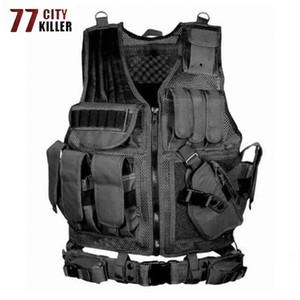 77City Killer-taktische Kampf-Weste Männer Abladen Armee-Militär ACU / Camouflage Herren Westen Multi-Tasche Körper Cs Jungle Ausrüstung T200117
