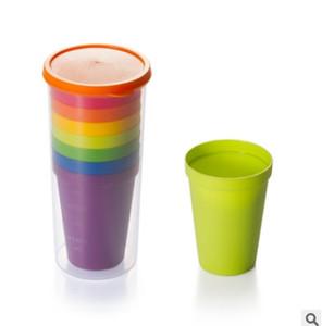 amplia boca taza taza taza para beber a mano los viajes de plástico de colores del arco iris picnic al aire libre portátil DHL 8pcs