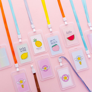 Nom simple Longe transparent Business Card Enfants étudiant Cartoon Fruit clair Banque de crédit en plastique ID Card Case Cover
