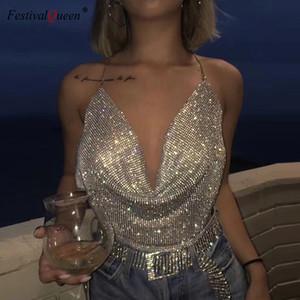 FestivalQueen brillante strass Backless partito Crop Top Donne 2020 Diamonds estate profondo scollo a V Night Club metallo canotte