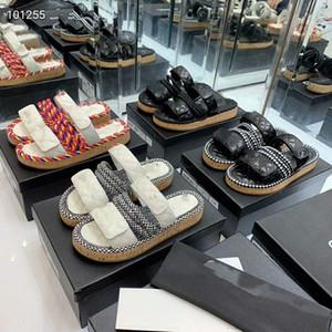Nuovo stile pantofole donna in vera pelle muli sandalo scarpe casuali zeppe scarpe mocassini moda all'aperto signore estate canapa corda sandalo