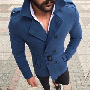 Mens Designer Giacche Belt Peacoat Doppio Petto Solid Slim cappotto lungo Button Mens Decoration cappotto casuale