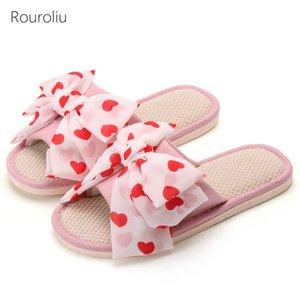 Rouroliu 2020 Bowknot de las mujeres de lino chanclas de verano transpirable Nueva cubierta de tela plana Zapatillas Zapatos Inicio