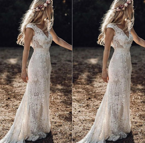 Vintage berta pleine dentelle sirène robes de mariée veau cou moqueuse guiche de mariée bohème plage jardin sur mesure robes de mariée