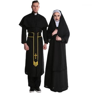 Costume Play Couple Masquerade Party Funny Designer Theme Costume Unique Designer Robe Holiday Dress Priest Nun Halloween