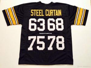 저렴한 레트로 사용자는 63 68 75 78 스틸 커튼 블랙 미첼 네스 저지 탑 S-5XL, 6XL 남자 축구 유니폼 러닝 스티치 수 놓은