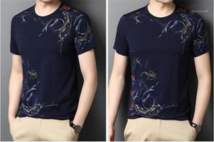 Boyun Kazak Tshirts Moda Çin Stil Tees Mens Tasarımcısı tişörtleri Çiçek Baskılı Casual Kısa kollu Ekip