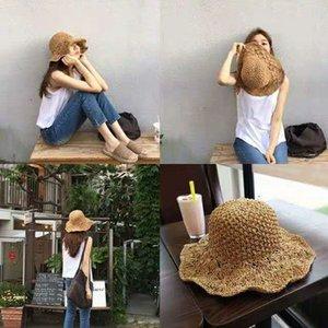 hecho a mano de la paja tejida crochet sol sombrero vacaciones en la playa del sombrero de paja dama Lafite