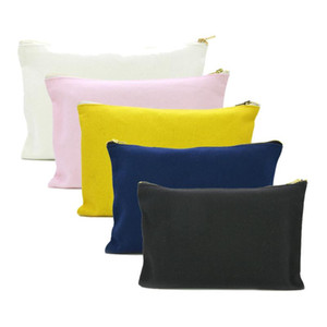 Oivefeet, 5pcs 12oz algodón liso Negro Blanco Azul Rosa Amarillo lienzo cosméticos bolsa de viaje de Tocador de maquillaje de oro bolsa de la cremallera del bolso