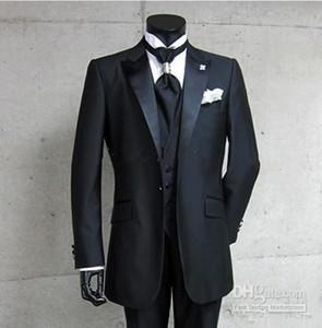 Yeni Gerçek Pic Tek Düğme Siyah Damat smokin Tepe Saten Yaka Sağdıç Sağdıç Erkekler Düğün Damat (ceket + pantolon + Vest) 4148 Suits