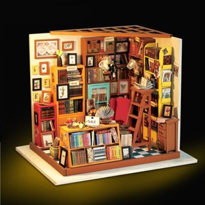 Home decoration accessories Figurine DIY Sam Study Room Wood Miniature Model Kits Decoration Dollhouse Birthday Gift for Girl T200703
