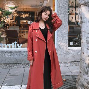 Fashion Lace-up Trenchcoat Frauen Lange Frühjahr Herbst koreanischen Frauen 2020 lose Outwear Revers Solid Color Breaker Mujer Z1006