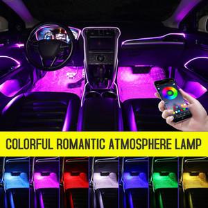 Led Car ambiente Mood Light Rgb App 2 millimetri a distanza di fibra ottica Porta Decorative Atmosfera EL Neon lampada auto illuminazione interna 12V