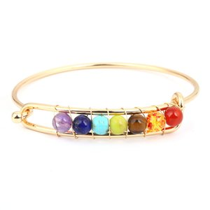 7 Chakra Beaded Bangle Wrap Bracelet with Thick Silver Metal Beads Gift for Women and Girls