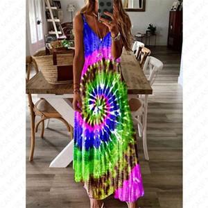 5xl Women Summer Maxi Dress Designer Tie Dye Whirlpool Long Dress Sleeveless Adjustable Strap Maternity Dresses Overall Beach Clothes D7104