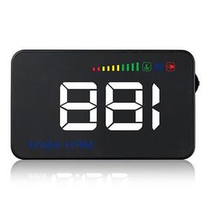 A500 3,5 pouces OBD2 HUD Affichage voiture température de l'eau écran du véhicule d'alarme de voiture Compteur de vitesse Alarme - Noir