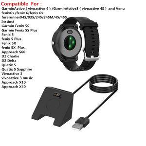 USB Dock Chargeur Câble de charge rapide Chargeur fil pour Garmin Fenix 6 6S 6X Pro Fenix 5 5X Forerunner 945 5S 245 VivoActive 3 Instinct Venu