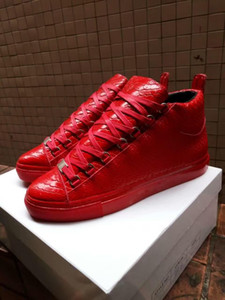 Fashion Arena Sneaker Shoes Fashion Kanye West Red Snake Leather Men's Zapatos Hombre Casual Trainers Party Dress Shoes 39-46L05